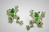 Green Crystal Frog Earrings