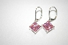 Square Cut Pink CZ Dangle Earrings