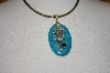 "**MBA #19-258  Large Turquoise & Silver Pendant With Garnet & 16""  Chain"