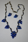 Blue Crystal Grape Cluster Style Necklace With Matching Earrings