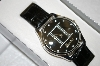 *MBA #20-847  Zodiac Silvertone Case & Crystal Dial Leather Strap Watch