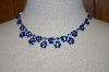 Two Shades Of Blue Crystal Necklace & Matching Earrings