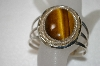 "**MBA #20-700  MBA #20-700  ""Artist Signed Large Tiger Eye Sterling Cuff Bracelet"
