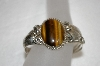 **MBA #20-696  Artist Signed Fancy Sterling Tiger Eye Cuff Bracelet