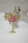 **MBA #20-640  Pink & Clear Crystal Fancy Flamingo Pin