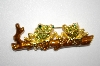 **MBA #20-719  Green Crystal Frogs On A Branch Pin