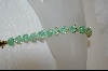 18Kt Over Sterling Green Glitter Glass Bracelet