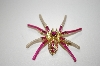 Pink Crystal Spider Pin