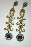 Long Green Crystal & Topaz Colored Dangle Earrings