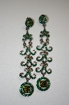 Two Tone Long Green Crystal Earrings