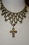 "**MBA #20-672  ""Harianna Citrine Colored Crystal Cross Necklace"
