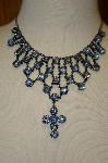 "MBA #20-652  ""Harianna Blue Austrian Crystal Cross Necklace"