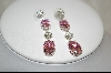 **Charles Winston Oval Cut Pink & Clear Cz Pierced Earrings