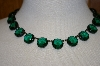 "Green Glass 18"" Antique Necklace"