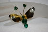 "+MBA #20-543  ""Gold Plated Green Crystal Butterfly Pin"