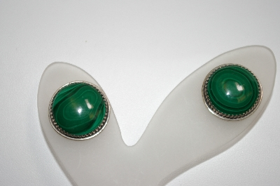 +MBA #20-686  Artist Signed Round Sterling Malachite Earrings