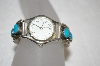 **MBA #20-296  Artist Signed Small Turquoise Sterling Watch