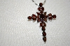 "**MBA #20-264  11.65 Ct Garnet Cross Pendant With 18"" Chain"