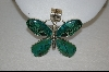 Large Green Turquoise Artist Signed Butterfly Pendant