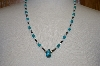 **MBA #20-184  Blue Turquoise Nugget,Mother Of Pearl & Hemalyke Bead Necklace