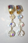 Les Bernard Large Crystal AB Clip On Earrings