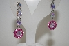 Large AB & Pink Crystal Drop Earrings