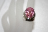 Large Oval Cut Pink CZ Sterling Ring