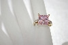14K Over Sterling Square Cut Pink CZ Ring