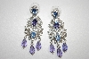 Nolan Miller Purple,Blue & Clear Crystal Dangle Earring