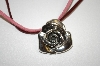 +MBA #20-255  Free Form 3d Sterling Rose Pin/Pendant With Leather Cord