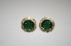 **MBA #20-434  14K Gold Plated  Silver Green Quartz Earrings & Pendant Set