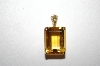 **MBA #20-467  14K Yellow Gold Square Cut Citrine & Champagne Diamond Pendant