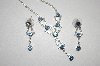 **MBA #20-432  Blue & Clear Crystal Necklace With Matching Earrings