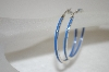 **MBA #20-428  Sterling Blue Enameled Hoop Earrings