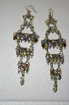 +MBA #20-453  Fancy Multi Gemstone Long Dangle Earrings
