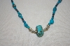 **MBA #20-181  Hand Strung Blue Turquoise & Blue Crystal Necklace