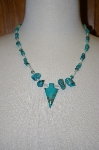 **MBA #20-228  Hand Strung Blue Turquoise & Mother Of Pearl Necklace