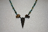 **MBA #20-127  Hand Strung Turquoise,Tiger Eye & Black Onyx Necklace