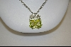 "**MBA #CW-PGP  ""Charles Winston Pale Green Square Cut & Clear Cz Pendant"