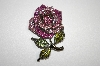 **MBA #20-129  Two Tone Pink Crystal Rose Brooch