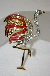 Large Clear Crystal & Enamel Flamingo Brooch