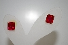 **MBA #20-170  14K Square Cut Created Ruby Earrings