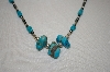 **MBA #20-178  Hand Strung Blue Turquoise Nugget, Hemalyke & Sterling Bead Necklace