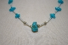 **MBA #20-160  Hand Strung Blue Turquoise & Mother Of Pearl Necklace
