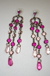 Erica Fancy Pink Crystal & Acrylic Gem Dangle Earrings