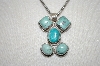 "**MBA #20-205  5 Stone Blue Turquoise Sterling Pendant With Heavy 18"" Chain"