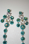 Aqua Blue & Ab Crystal Dangle Earrings