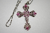 "Two Tone Pink Crystal Cross With 22"" Chain"