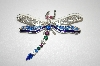 Blue & White Crystal Dragonfly Pin