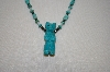 **MBA #20-530  Blue Turquoise, Mother Of Pearl, Hemalyke Carved Bear Necklace